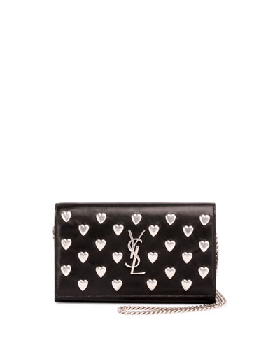 Monogram Flap Heart-Stud Wallet-on-Chain, Black (Noir)
