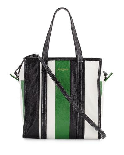 Bazar Small Striped Leather Shopper Tote Bag, Green/White/Black
