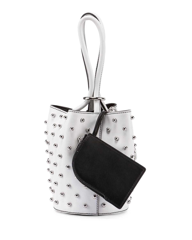 Palladium Mini Leather Bucket Bag, White