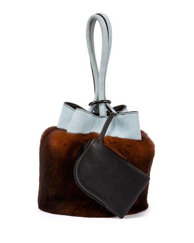 Rabbit Fur & Suede Bucket Bag, Rust