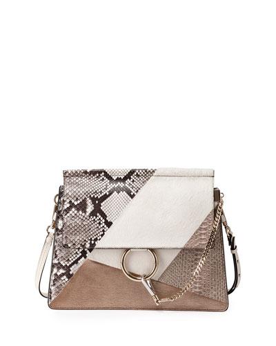 Faye Medium Python/Calf-Hair Patchwork Shoulder Bag, Off White