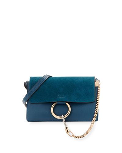 Faye Small Suede Shoulder Bag, Full Blue/Mustard