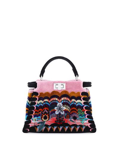 Peekaboo Mini Embroidered Velvet Bag, Multi