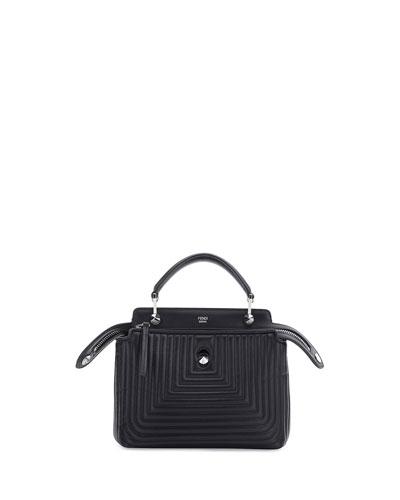 DOTCOM Mini Quilted Chain Crossbody Bag, Black