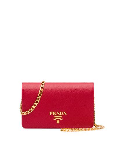 Small Saffiano Chain Shoulder Bag