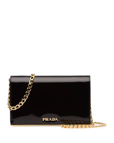 Patent Chain Shoulder Bag, Black