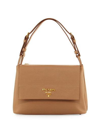 Vitello Daino Shoulder Bag, Tan