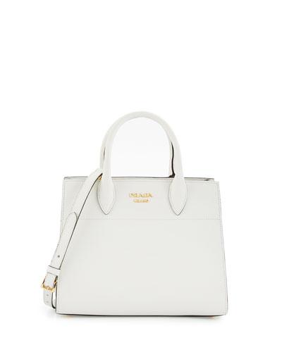 Medium Vitello Diano Open Tote Bag, White