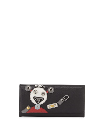 Robot Saffiano Leather Wallet, Black Pattern