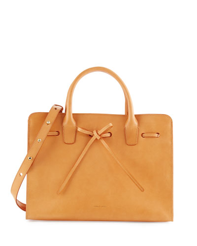 Vegetable-Tanned Leather Sun Tote Bag, Cammello/Canvas
