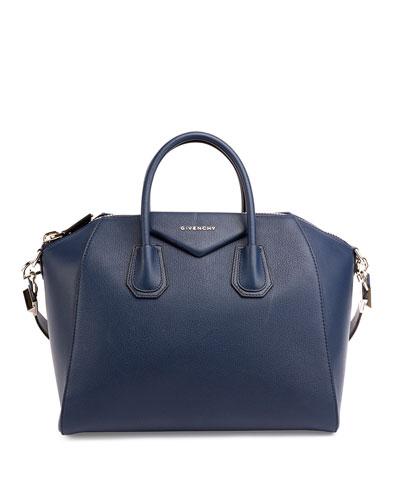 Antigona Medium Sugar Goatskin Satchel Bag, Night Blue