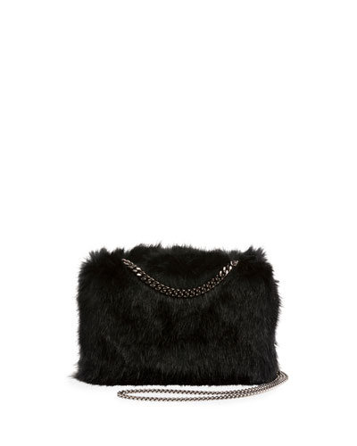Faux-Fur Chain Clutch Bag, Black