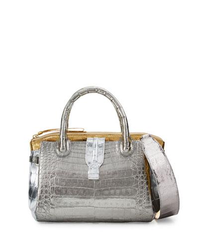Cristina Mini Tricolor Crocodile Tote Bag, Anthracite/Gold