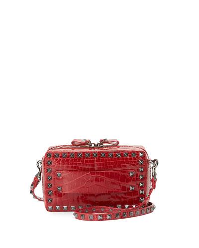 Rockstud Crocodile Crossbody Bag, Red