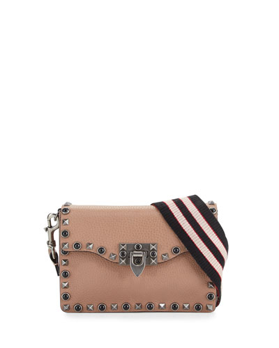 Rockstud Cabochon Guitar-Strap Flap-Top Bag, Beige