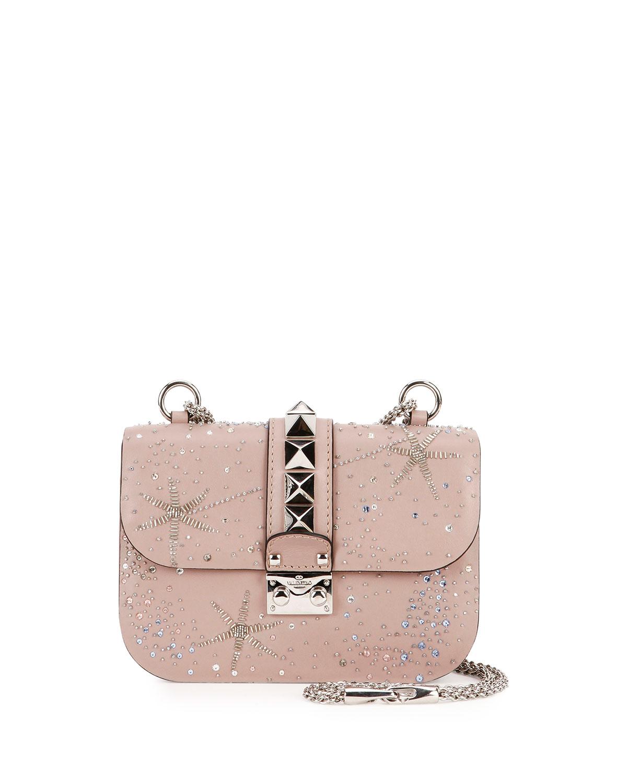 Lock Brilliant Small Shoulder Bag, Beige