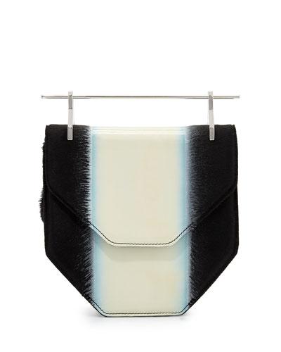 Amor Fati Colorblock Calf Hair Satchel Bag, Milky White