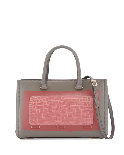 Pandora Demi Vitello & Crocodile Small Tote Bag, Gray/Pink