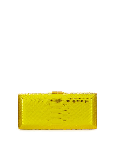 Rectangle Compact 21 Python Clutch Bag