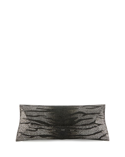 Manila Stretch Stingray Clutch Bag, Silver