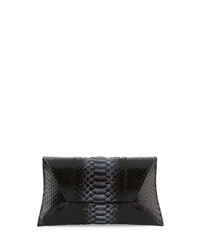 Manila Stretch Python Clutch Bag, Dark Silver