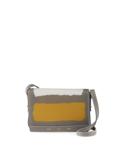 Pulce Small Vitello Leather Crossbody Bag, Neutral