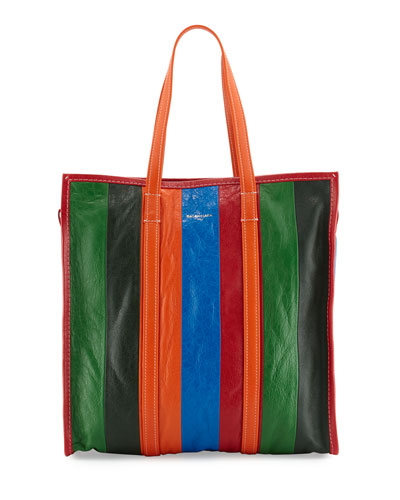 Bazar Shopper Medium Striped Leather Shopper Tote Bag, Multi