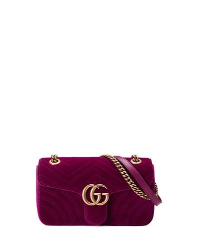 GG Marmont 2.0 Mini Quilted Velvet Crossbody Bag, Red/Brown