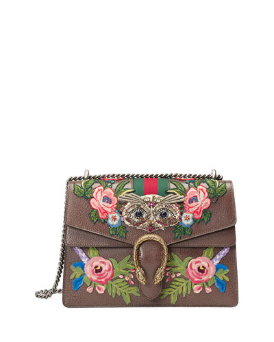 Dionysus Medium Owl-Embroidered Shoulder Bag, Tan