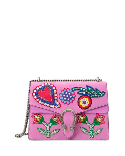 Dionysus Medium Beaded Heart Shoulder Bag, Pink