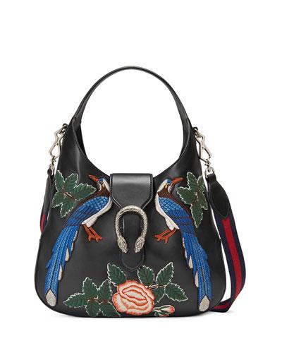 Dionysus Medium Embroidered-Birds Hobo Bag, Black