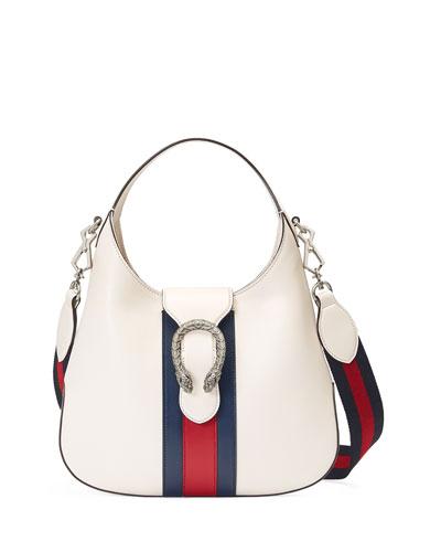 Dionysus Small Striped Hobo Bag, White