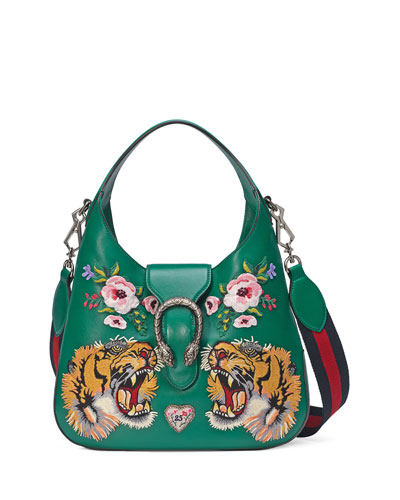 Dionysus Small Embroidered-Tigers Hobo Bag, Green