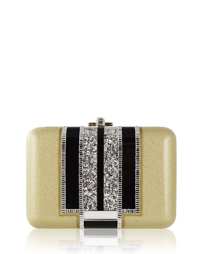 Slim Slide Crystal Evening Clutch Bag, Gold/Multi