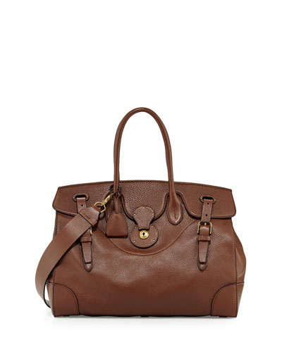 Soft Ricky 40 Leather Satchel Bag, Brown