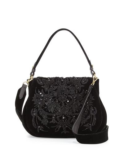 Beaded Velvet Messenger Bag, Black