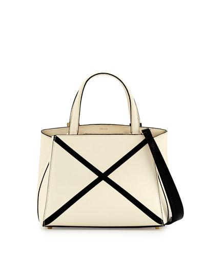 Triennale Mini Tote Bag w/Contrast Trim, White