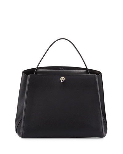 Triennale Large Leather Top-Handle Bag, Black