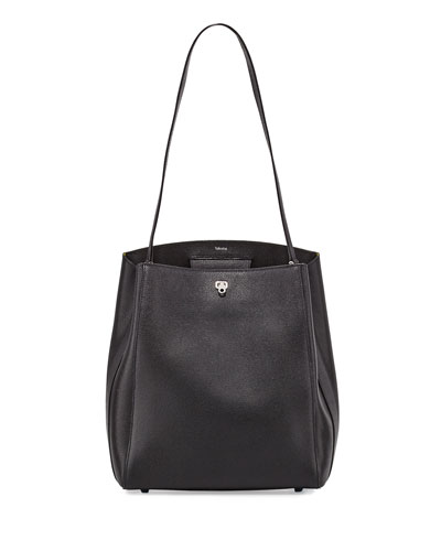 Triennale Leather Shoulder Bag, Black