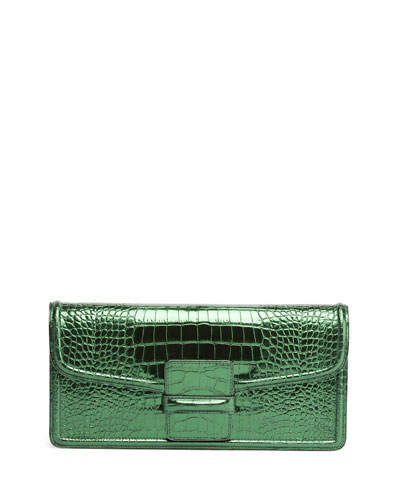 Stamped Leather Clutch Bag, Green
