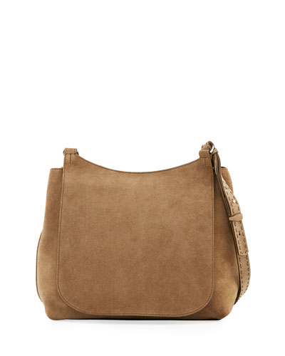 Sideby Suede Messenger Bag, Dark Olive