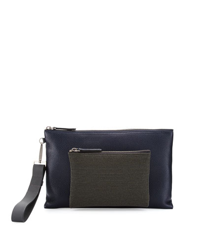 Pebbled Leather Wristlet Bag with Monili Front, Navy
