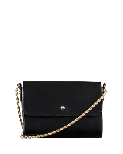 Erwin Chain Leather Shoulder Bag, Black