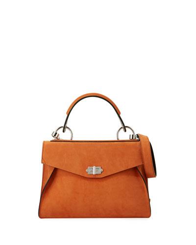 Hava Medium Nubuck Top-Handle Satchel Bag, Mahogany