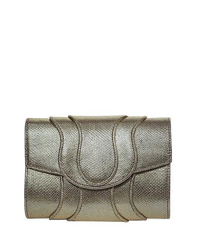 Jolie Snakeskin Clutch Bag, Gold