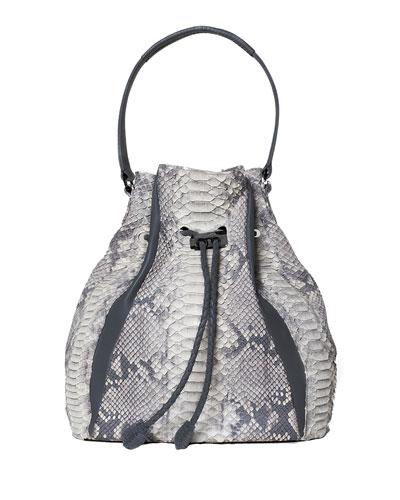Edem Mini Python Bucket Bag, Natural