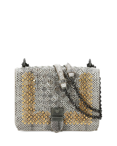 Small Flap Studded Snakeskin Crossbody Bag, Fume/Gold