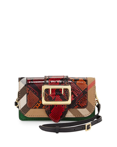 Micheldever Patchwork Check Snakeskin Shoulder Bag