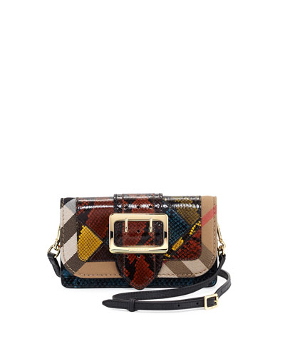 Fallowfield One-of-a-Kind Snakeskin Patchwork Bag w/Check Canvas Trim