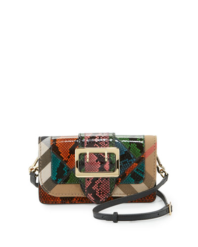 Oversland One-of-a-Kind Snakeskin Patchwork Bag w/Check Canvas Trim